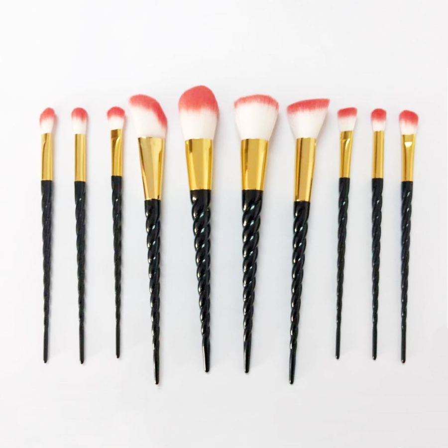 5 Black Unicorn Horn Makeup Brush Set