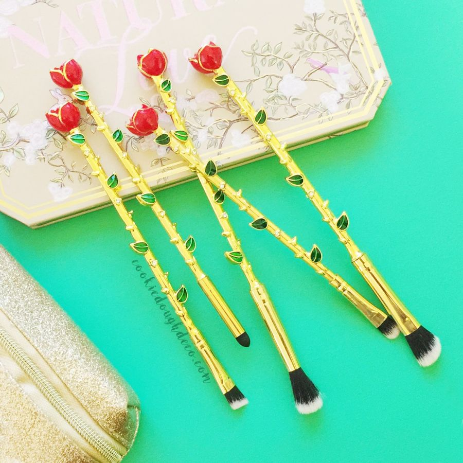 5 Enchanted Rose Makeup Brushes | Eye brush set | gold