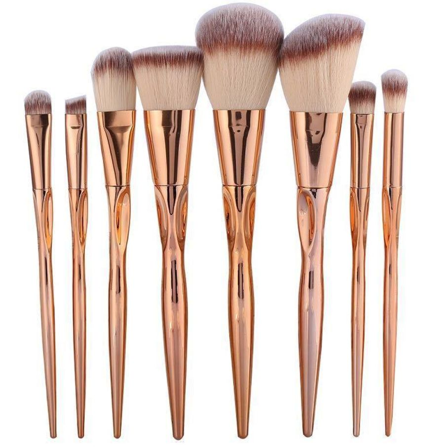 8 Rose Gold Ergonimic Makeup Brushes