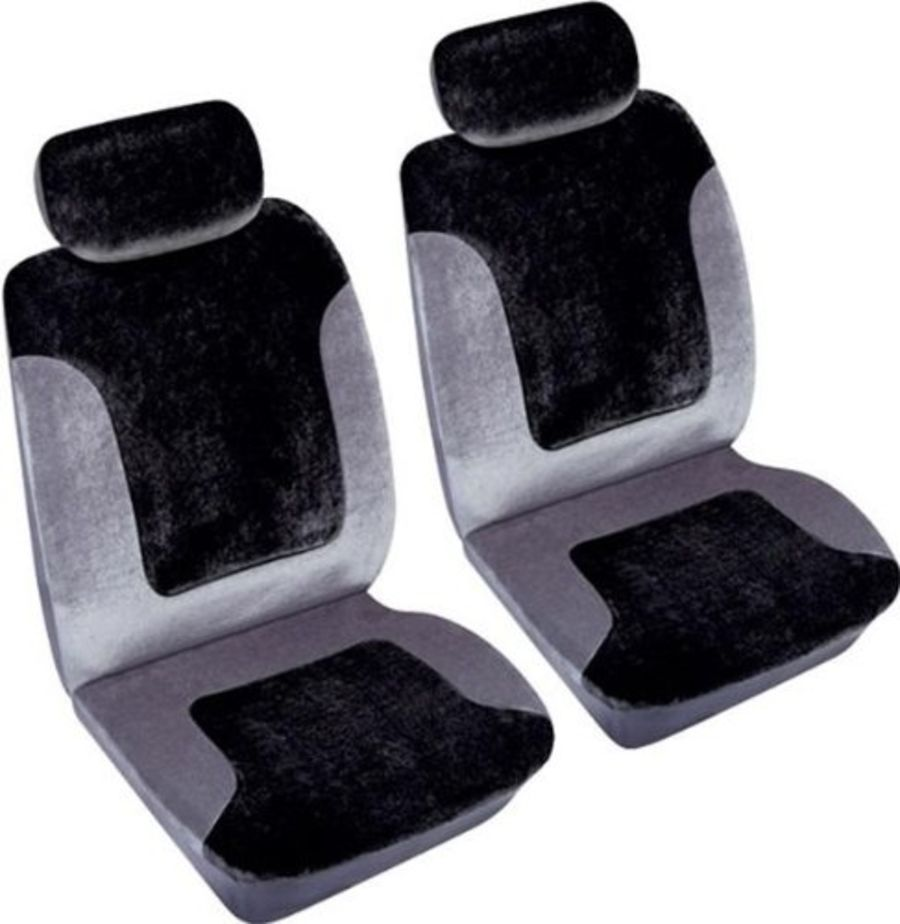 Heritage 2 x Front Car Seat Covers - Grey & Black
