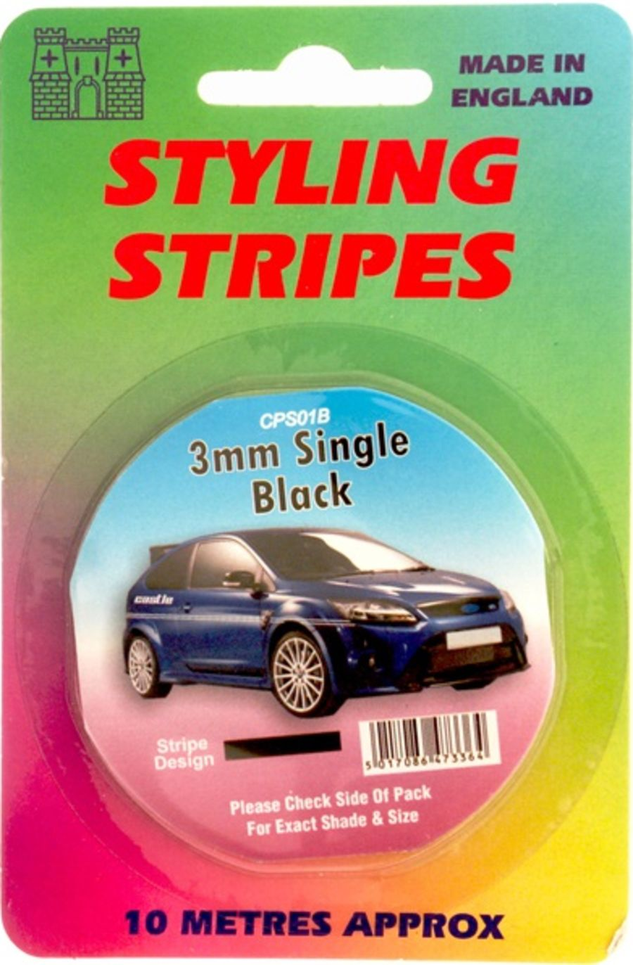 Single Stripe - 3mm Black - 10m Length