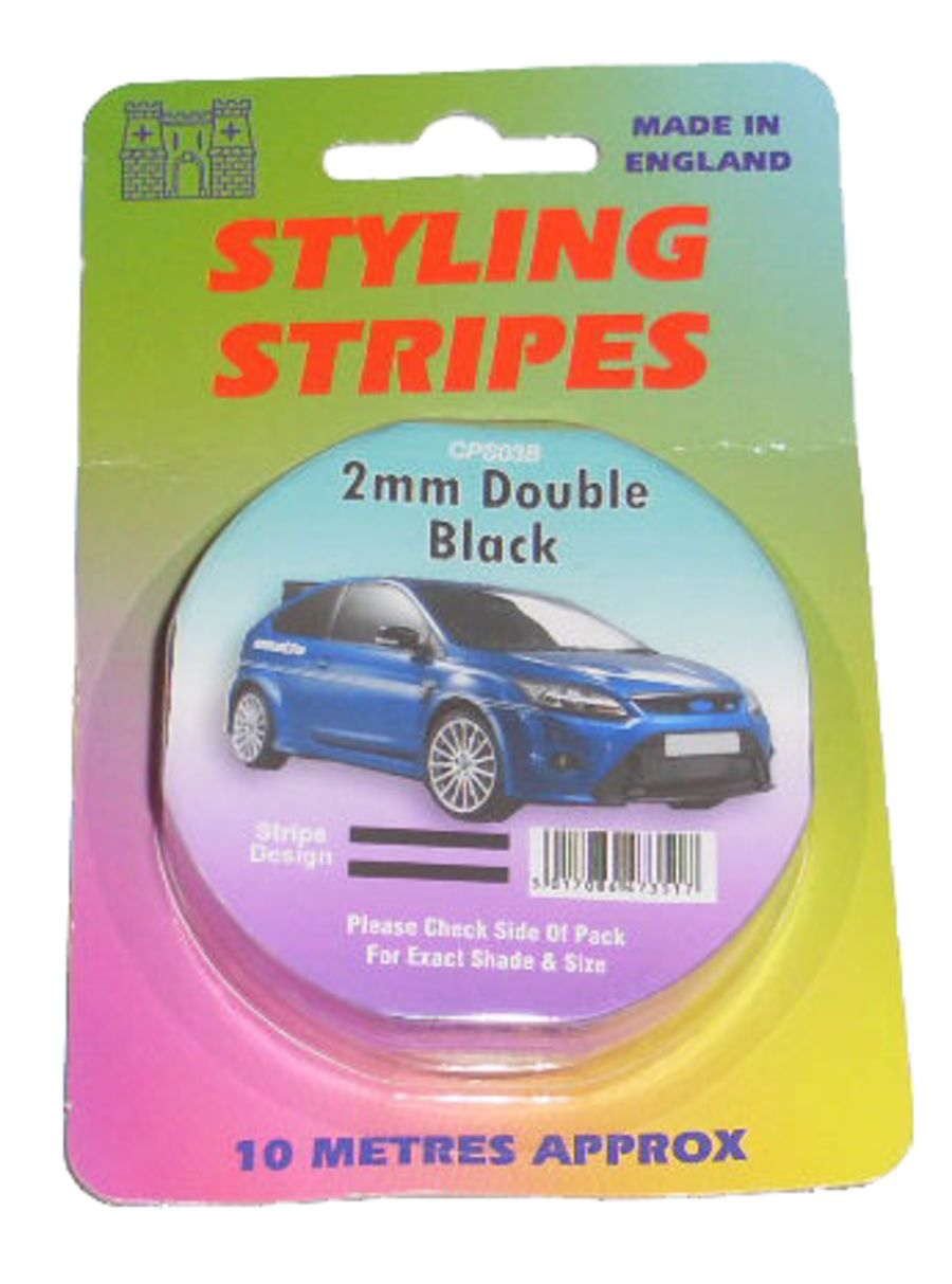 Double Stripe - 2mm Black - 10m Length
