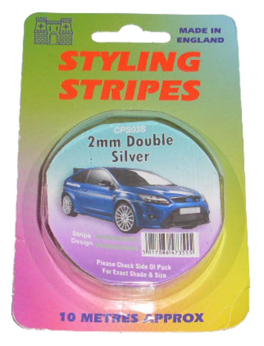 Double Stripe - 2mm Silver - 10m Length