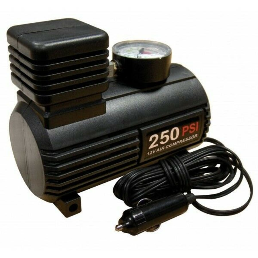 Tyre Inflator - 12V - Compact Compressor With Gauge - 0-250 PSI