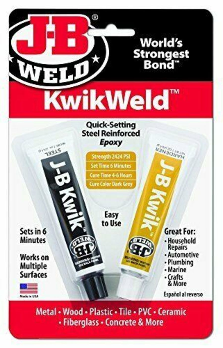 KwikWeld Quick Setting Steel Reinforced Epoxy Twin Tube