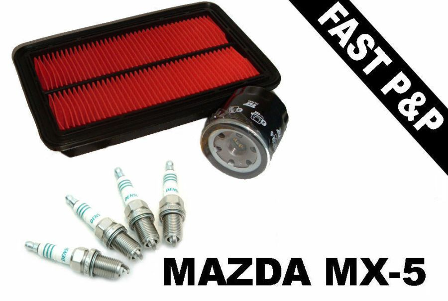 Service kit Mazda MX-5 mk2 NB 1.8 98-05 MX5 oil air filters & Denso spark plugs