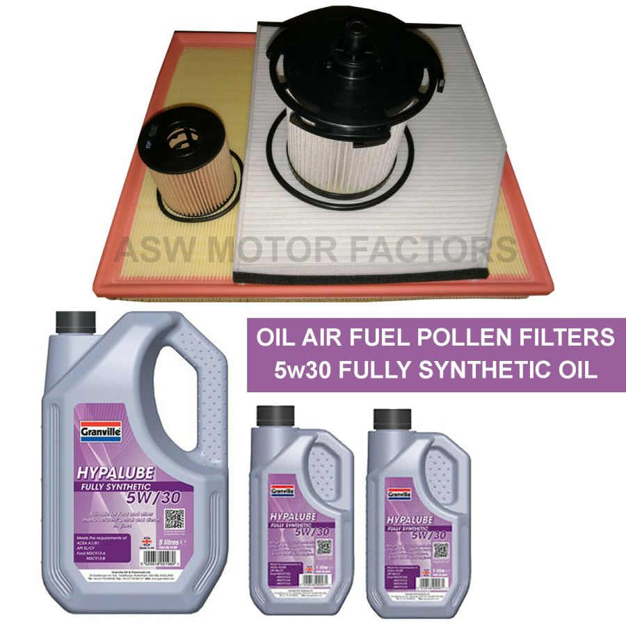Ford Transit Custom 2.2 TDCI Service Kit Oil Air Fuel Pollen Filters Oil 2012 Onwards