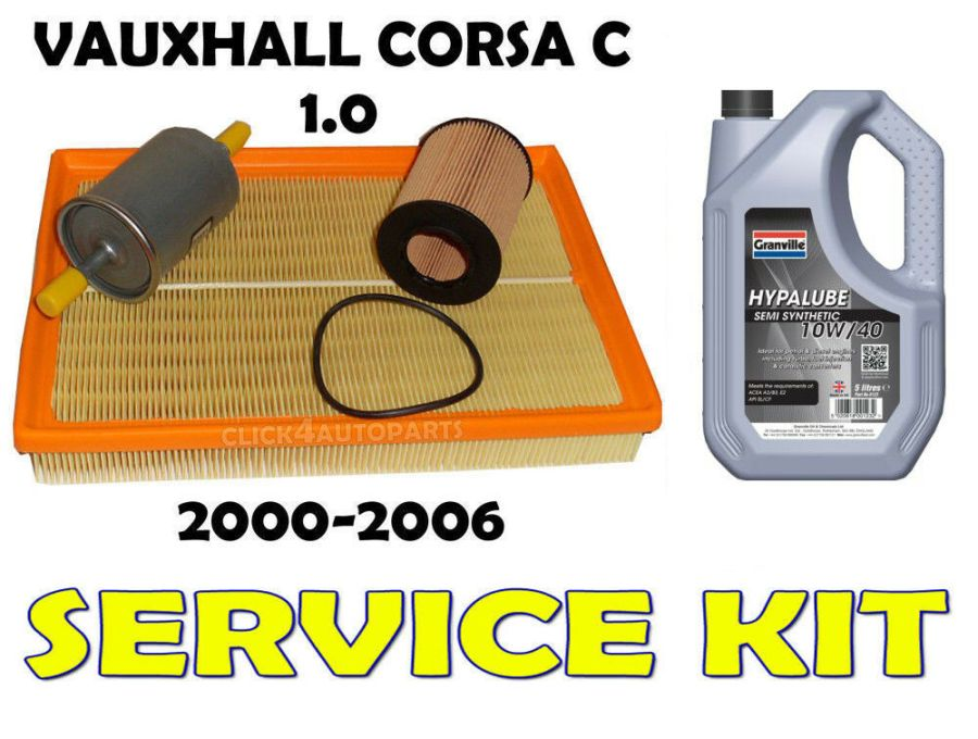 Service Kit Vauxhall Corsa C 1.0 oil air fuel filter 10w40 oil