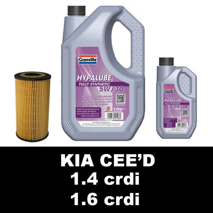 1.4 crdi 1.6crdi Kia Cee'd Ceed Oil Filter and 5w30 Fully Synthetic Oil 6 litres