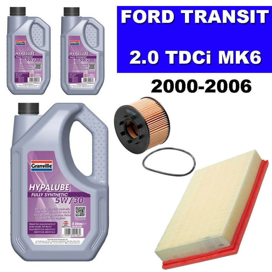 MK6 Ford Transit 2.0 TDCi 2000 to 06 Oil Air Filter 5w30 Fully Synthetic Oil x 7