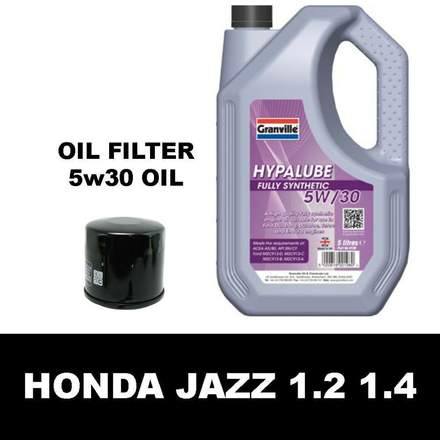 Honda Jazz 1.2 1.4 MK2 MK3 Oil Filter and 5w30 Fully Synthetic Oil