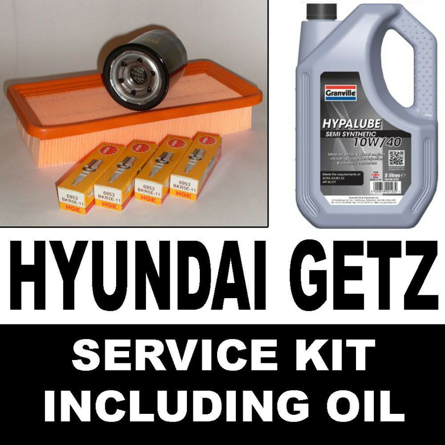 HYUNDAI GETZ 1.1 Oil OE Quality Air Filters Spark Plugs Service Kit with Oil