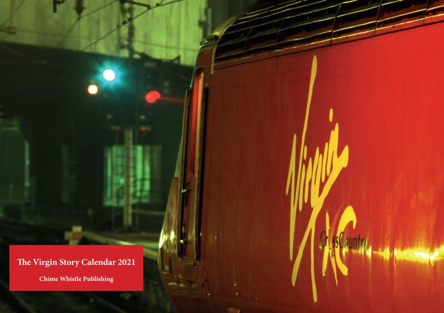 The Virgin Story Calendar 2021. This 11x16 inch wire bound calendar contains 13 (including cover) amazing pictures of the Virgin story, including Pendolinos being built, A Voyager on test in France, HSTs being rebuilt at Brush, class 57s and class 87s.
