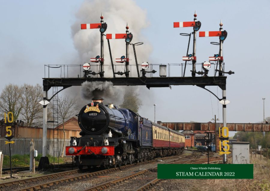 2022 Steam Calendar. An A3, wire bound, 14 page calendar, featuring beautiful pictures of steam locomotives. Every month is presented in one month per page format and shows a single large colour image on the page.