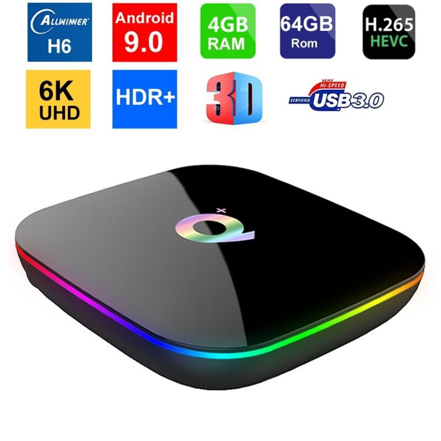 Q Plus Android 9.0 Smart TV Box Media 4GB RAM 32GB/ 64GB ROM H6 Quad Core WIFI 2.4G Ethernet USB 3.0 Set Top Box Support 6K Ultra HD Internet streaming Video Player