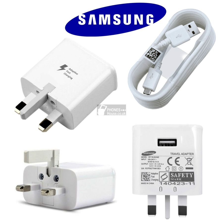 OFFICIAL GENUINE SAMSUNG FAST CHARGER ADAFTER PLUG  FOR GALAXY S4 To S7 NOTE 4,5,8