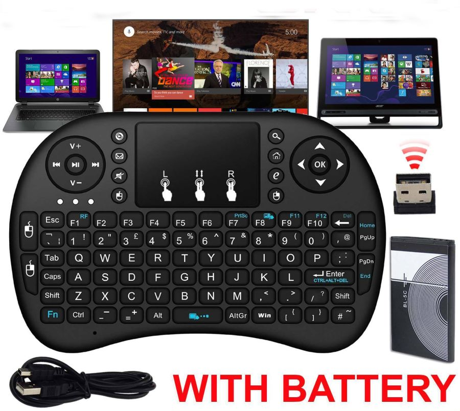 Mini Keyboard 2.4G Wireless Keyboard Backlit Air Mouse English Remote Control for Android TV BOX