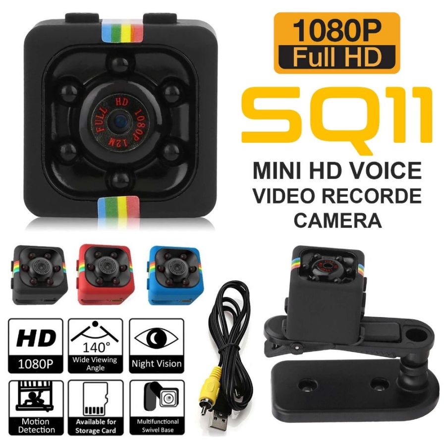 SQ11 Full HD IR Night Vision Mini DVR Camera Dash Cam Black
