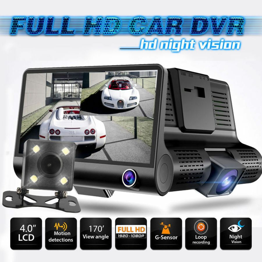 1080P Car DVR 4.3 inch Lens Dash Cam Front and Rear Video Recorder Camera G-sensor