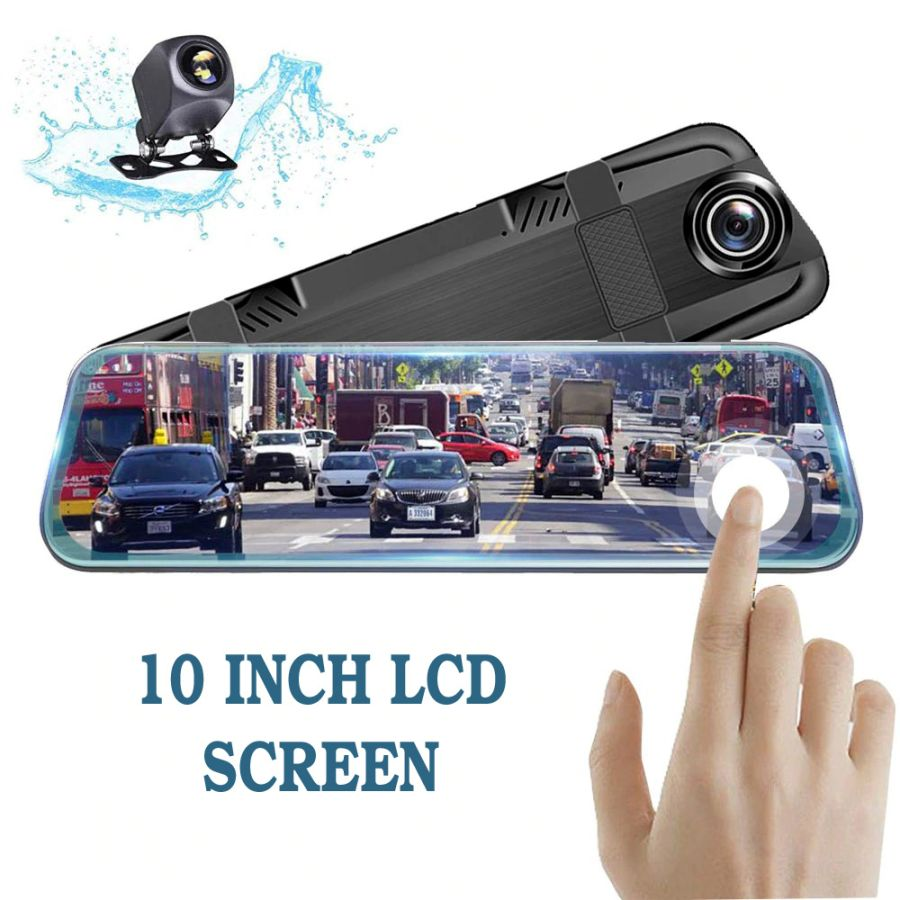 Car DVR Dash Camera 10 Inch Streaming RearView Mirro 1080P Video Recorder Auto Registrar Dual Lens with Rear View Camera