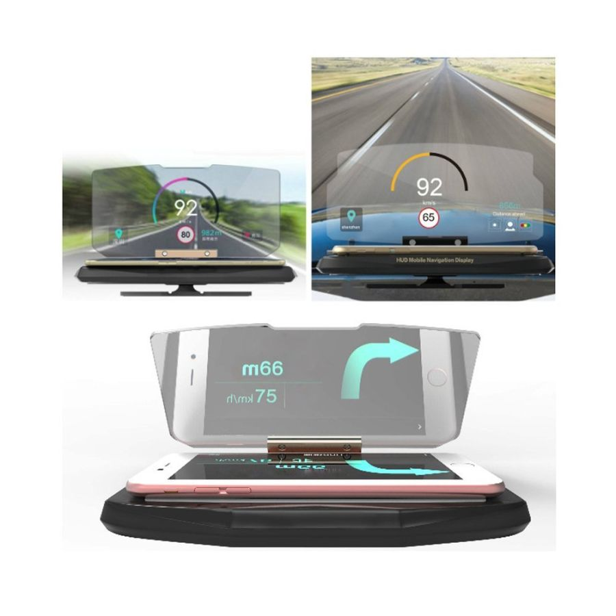 UNIVERSAL CAR HUD HEAD UP GPS NAVIGATION DISPLAY MOBILE CELL PHONE HOLDER STAND