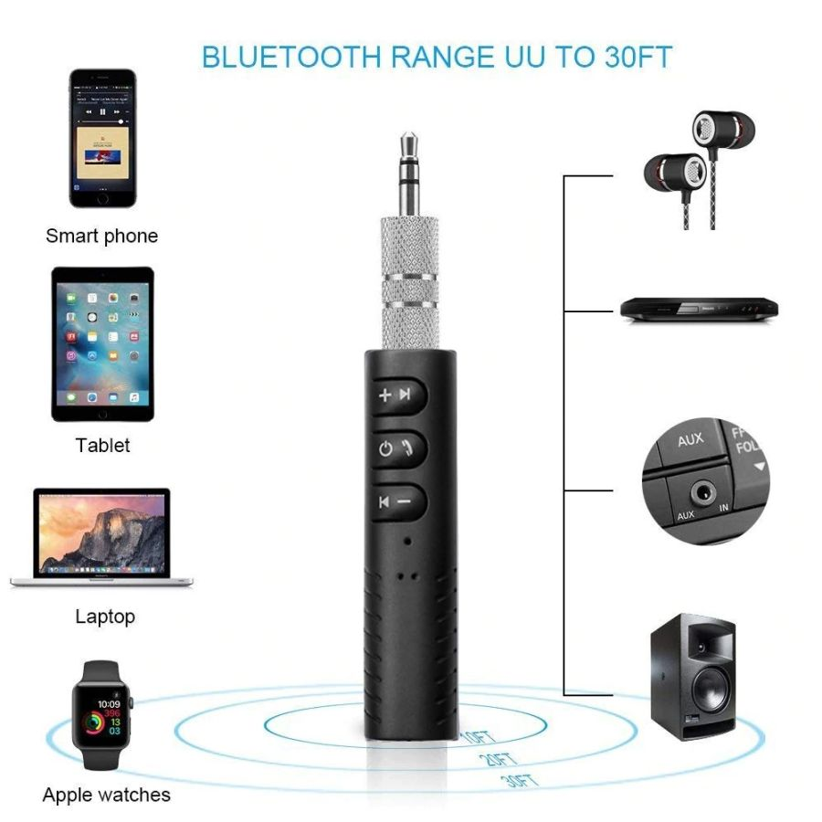 Mini 3.5mm Jack Bluetooth Car Kit Handsfree Music Audio Receiver Adapter Auto Bluetooth AUX for Speaker Headphone Car AUX