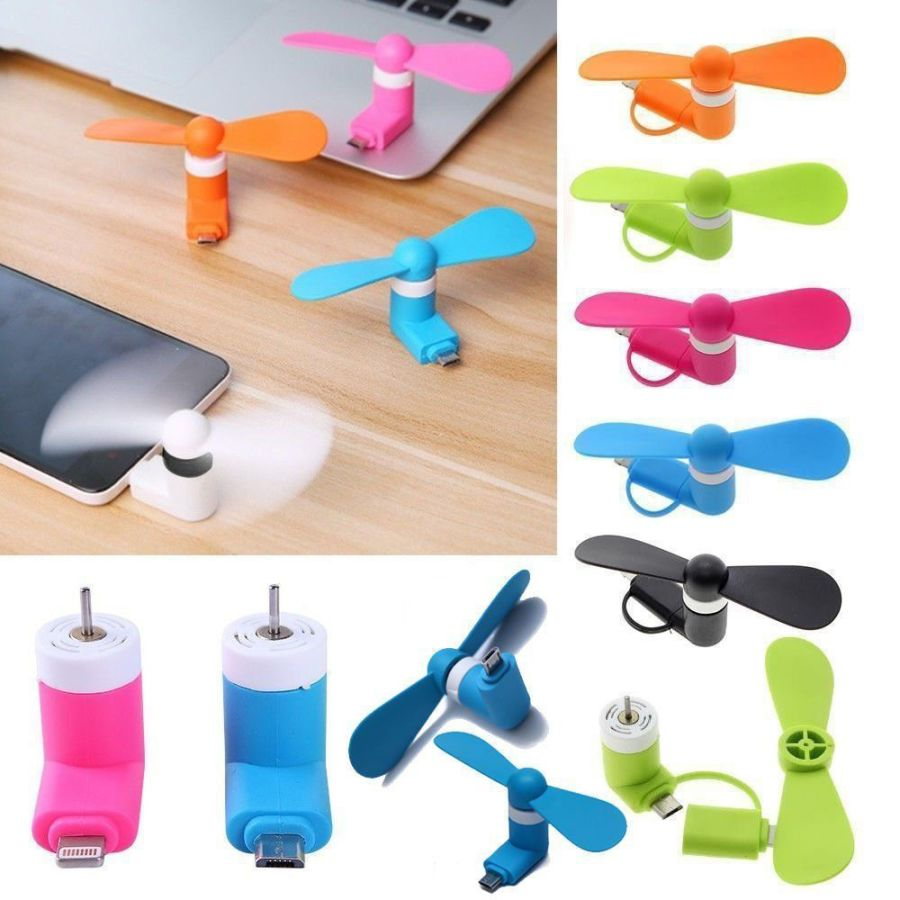 2in1 Mini USB Fan Play Sports Travel Camping Cooling For iPhone and Android Plug