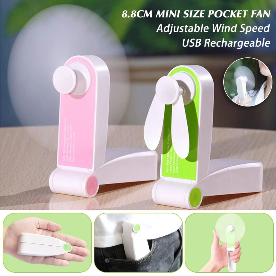 Portable Mini Fan Foldable Adjustable 2 Wind Speed Handheld Personal USB Rechargeable Fans Built-in Lithium Battery