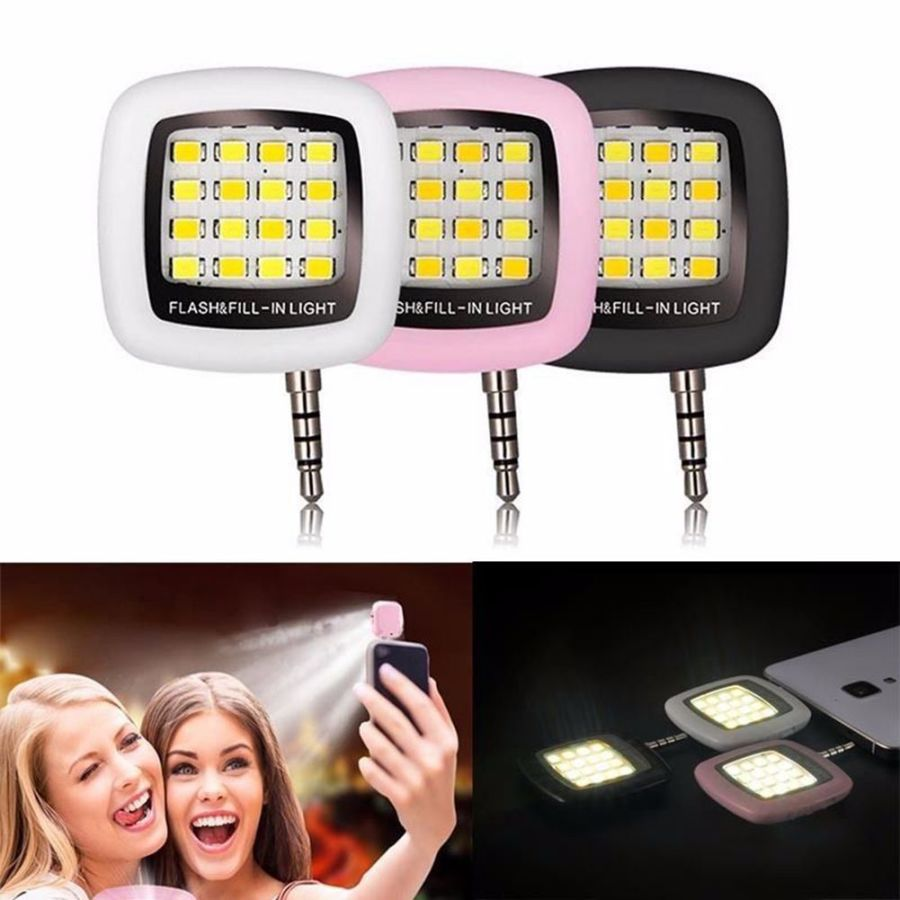 Selfie Fill Flash Light 16 LED Camera Smart 3.5mm For Android iPhone Samsung IOS