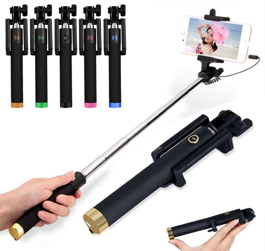 Wired selfie stick with cable three generations drive by wire monopod