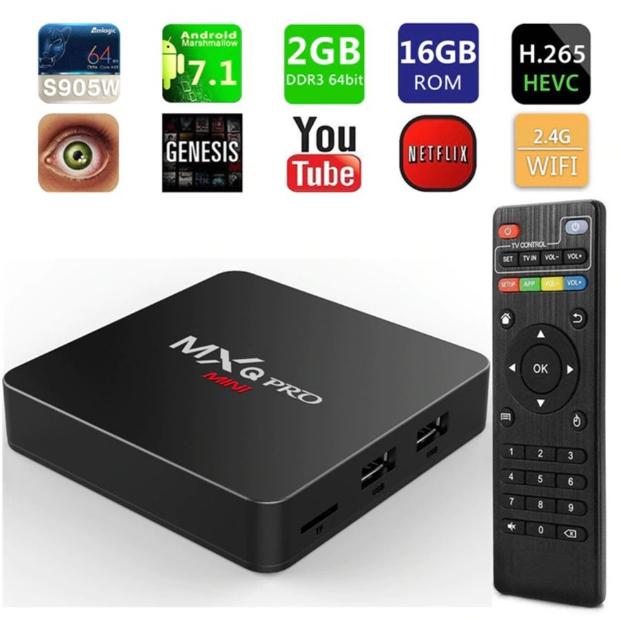 MXQ Pro 4k Android TV Box Amlogic S905w Quad-Core CPU 2GB RAM/16GB ROM Android 7.1 TV Box 2.4G Wifi MXQ Media Player