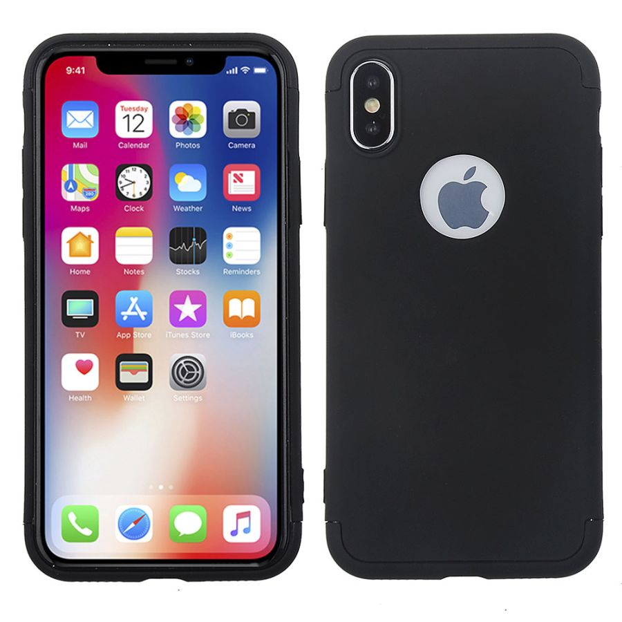 360 PROTECTION SLIM LIGHT PC CASE COVER FOR IPHONE X 10 WITH FREE TEMPERED GLASS