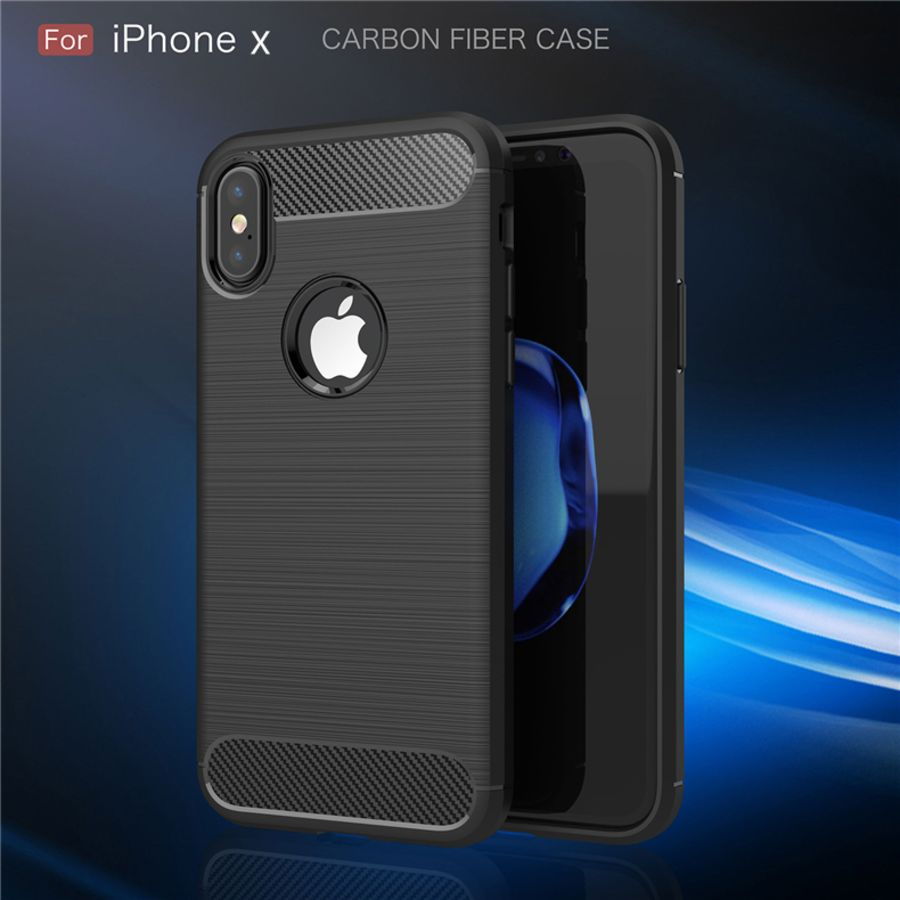 Black Carbon Fiber Textured Armor  phone case cover for I phone X10 Case