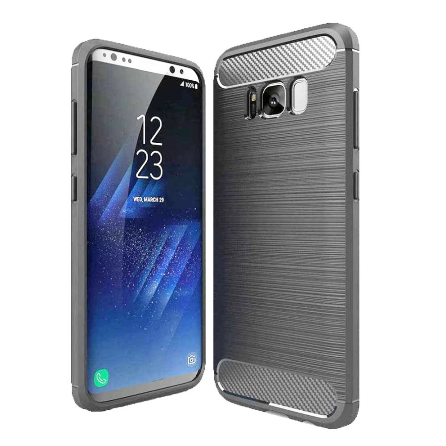 Black Carbon Fiber Textured Armor phone case cover for Samsung Galaxy S8 and S8 Plus Case