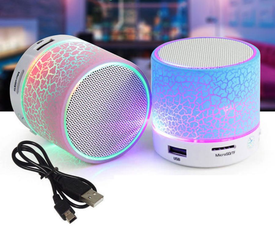 LED Light Mini Bluetooth Speakers Wireless Bass Speaker With TF USB FM Radio