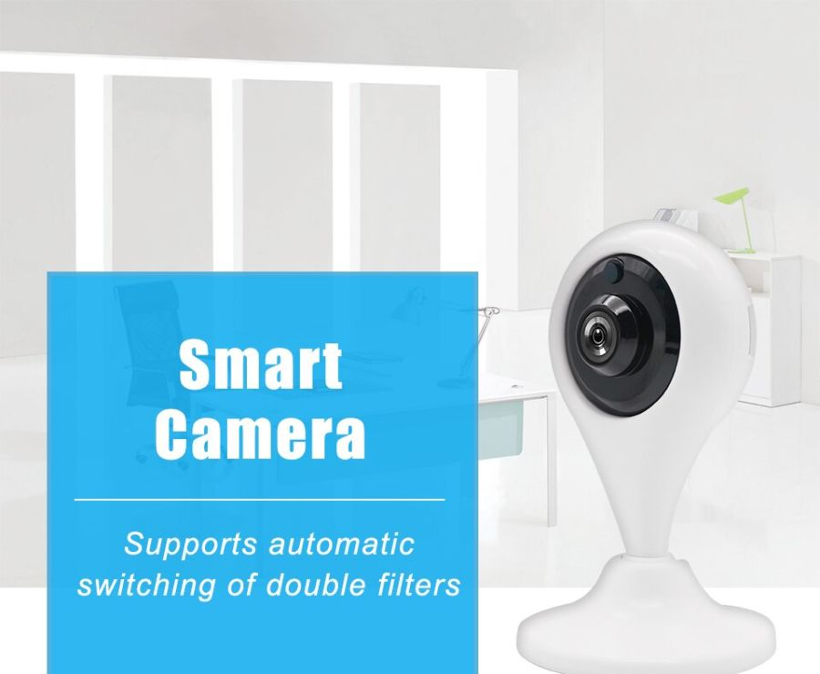 Smart wifi Camera Indoor IP Security Surveillance System with HD 2.0MP Night Vision for Home/Office/Baby/Nanny/Pet Monitor White