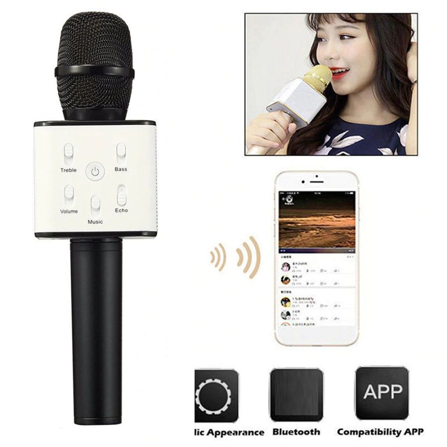 Wireless Original Brand Q7 Bluetooth Karaoke Microphone Professional Player Speaker With Carring Case For Iphone For Android