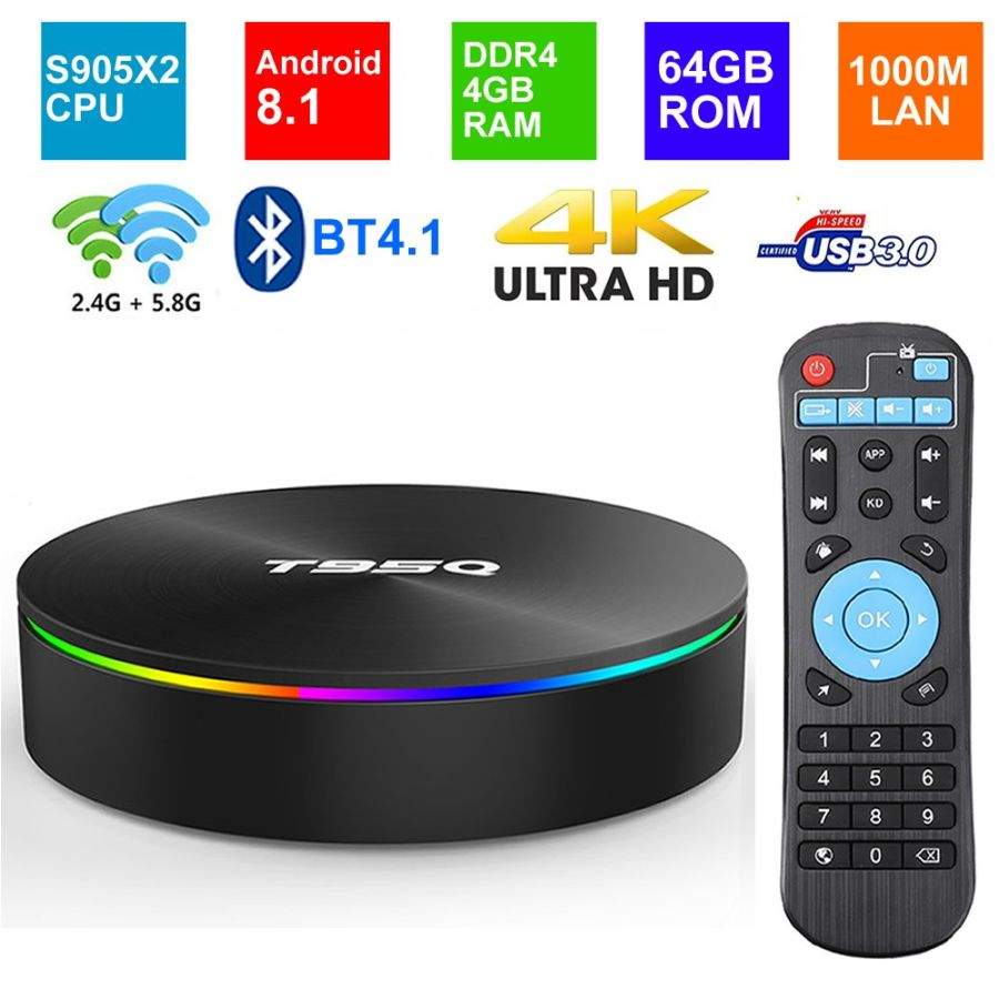 T95Q 4GB 64GB Android 9.0 TV BOX Amlogic S905X 2.4/5.8GHZ Dual Wifi BT4.1 H.265 4K USB3.0 60pfs Media Player Smart Tv Box