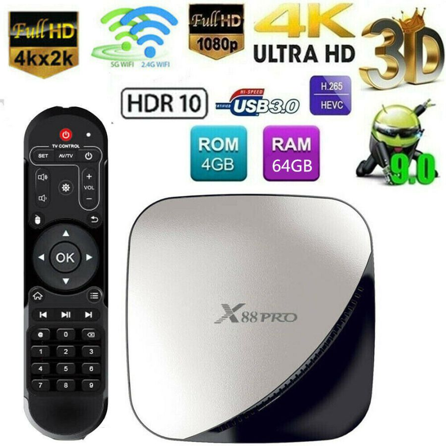 Android TV Box, X88 PRO Android 9.0 4GB 4 RAM/ 64GB ROM RK3318 Quad-Core Support 2.4G/5.0G WiFi Ethernet 10/100M DLNA 3D 4K Mini TV Box