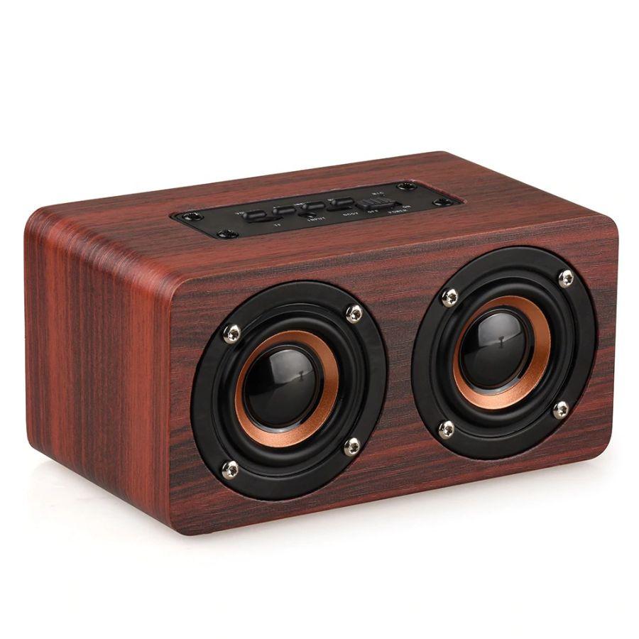 W5 Wooden Design Bluetooth Speaker Stereo Portable Wireless Player Support FM Radio TF