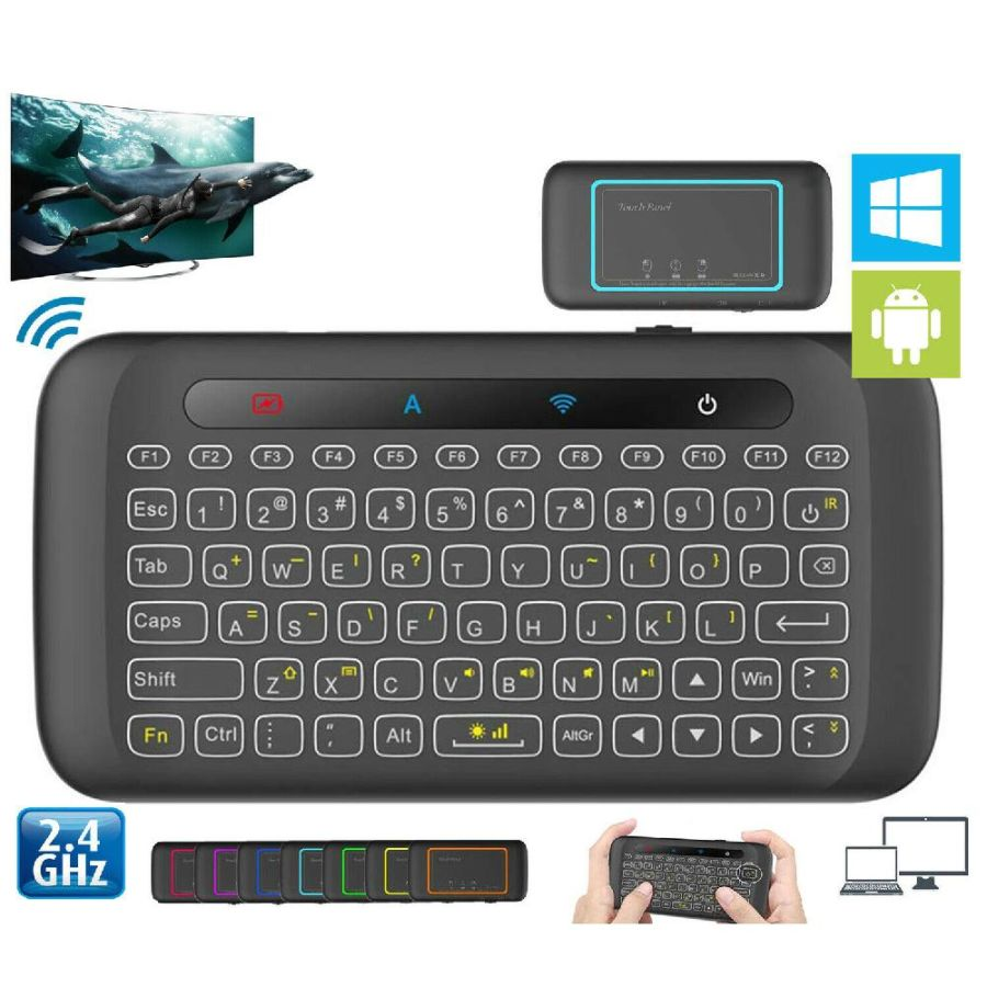 H20 2.4GHz Wireless Mini Keyboard Backlight multi-touch touchpad Air mouse for PC Smart TV Box