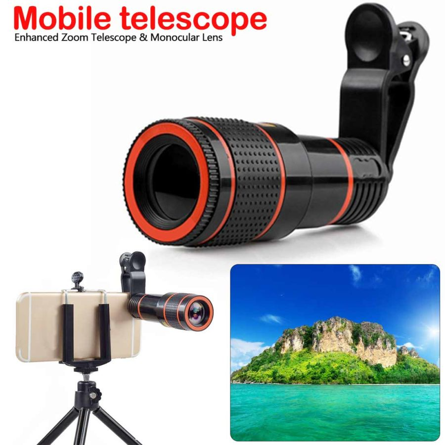 Universal 8X-12X Zoom Telescope Clip-on Camera Lens for Smartphone Tablets - Black