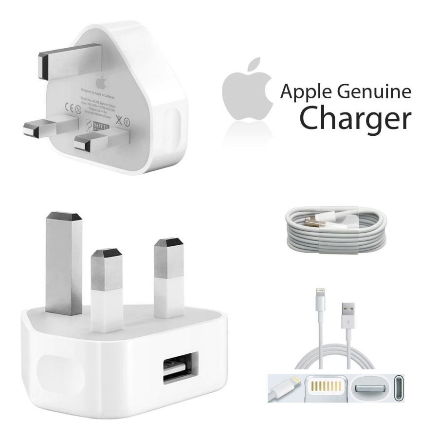 100% Genuine Apple iPhone X11,X10, 8,7,7Plus 6 6Plus 5 5C 5S Mains Wall Charger Plug.