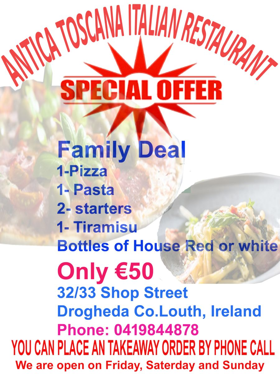 ANTICA TOSCANA TAKEAWAY FAMILY OFFER 50 EURO
