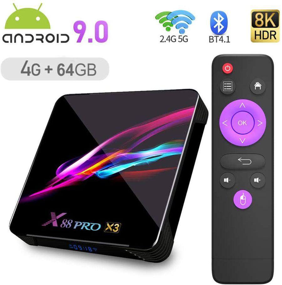 Smart TV Box,X88 Pro X3 Android 9.0 TV Box Smart Player with S905X3 Quad-core 64 Bits Chip 4GB RAM 64GB ROM 3D/ 8K Ultra Dual WiFi/USB 3.0/ Bluetooth 4.1