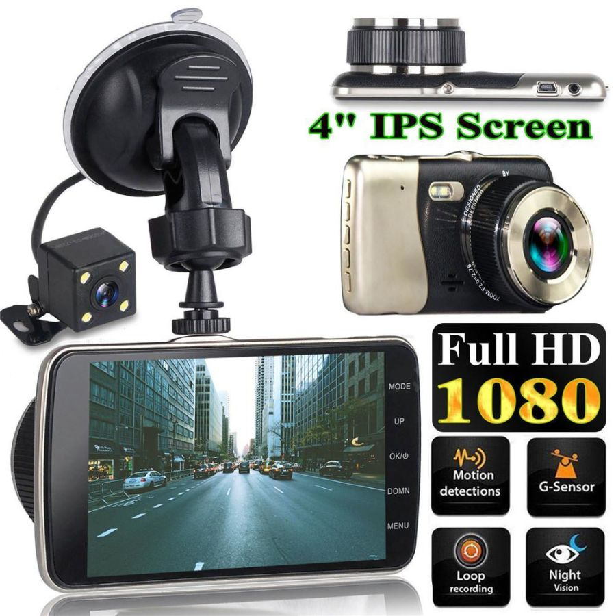 4 Inch Dash Cam Dual Lens Car DVR Vehicle Camera Full HD 1080P  Dash Cam Night Vision Video Recorder G-sensor Parking Monitor