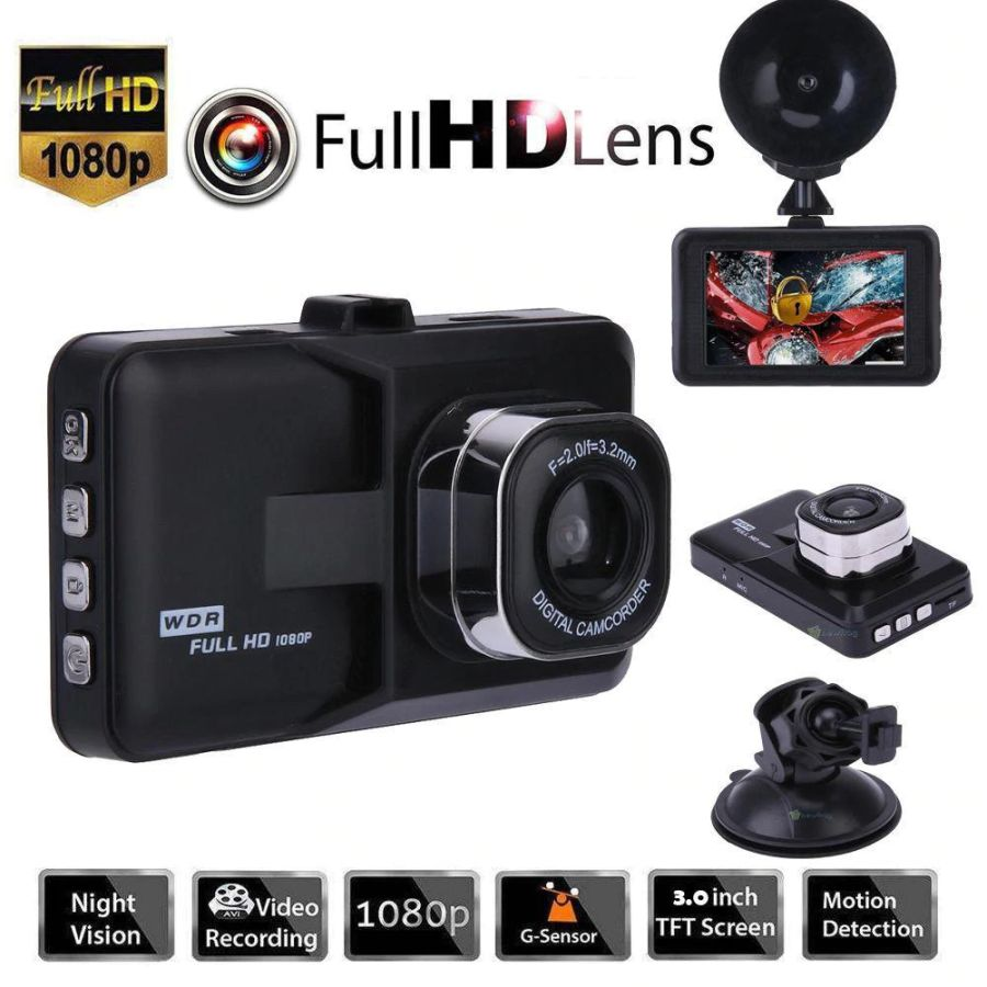 3 Inch Full HD 1080P Car DVR AVI Camera Video Loop Recorder 170 degree Motion detection G-Sensor White Balance Anti-Shaking Front and Rear Camera.