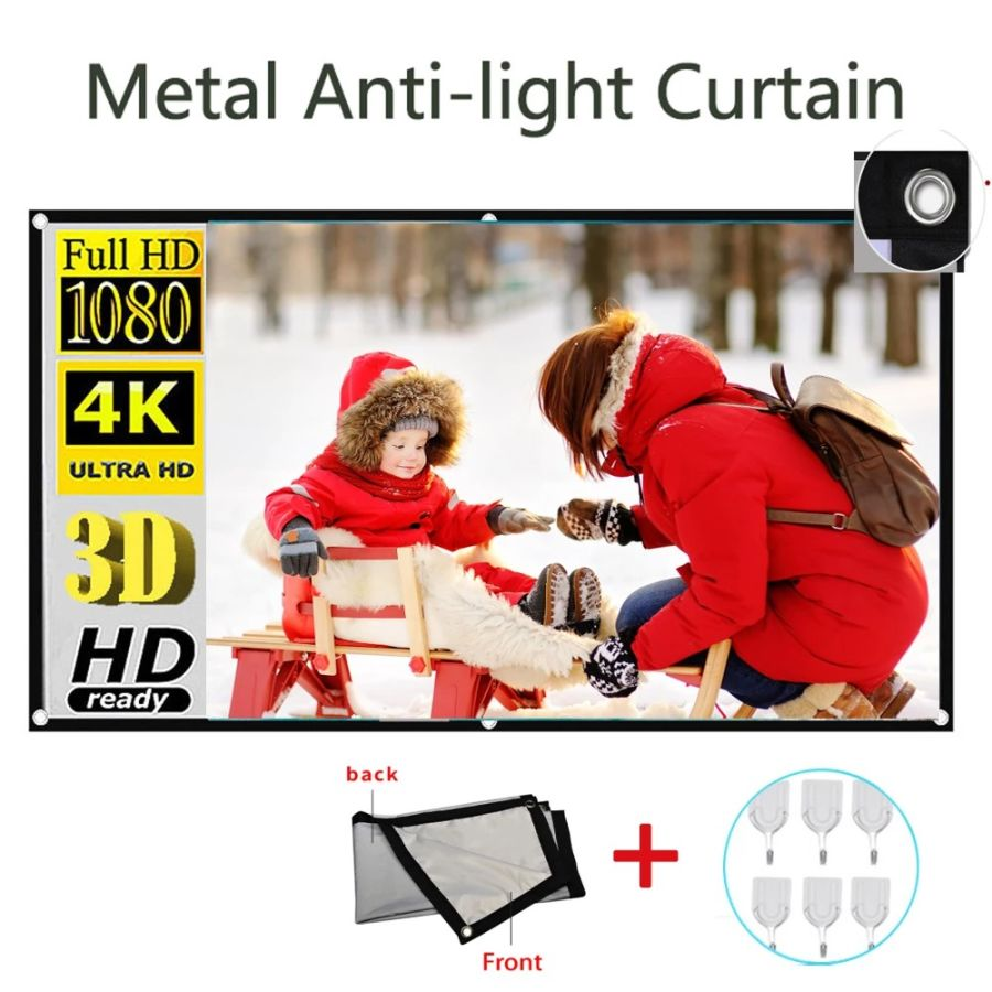 3D HD Anti-light Screen Curtain Reflective Fabric Cloth Home Projector Screen