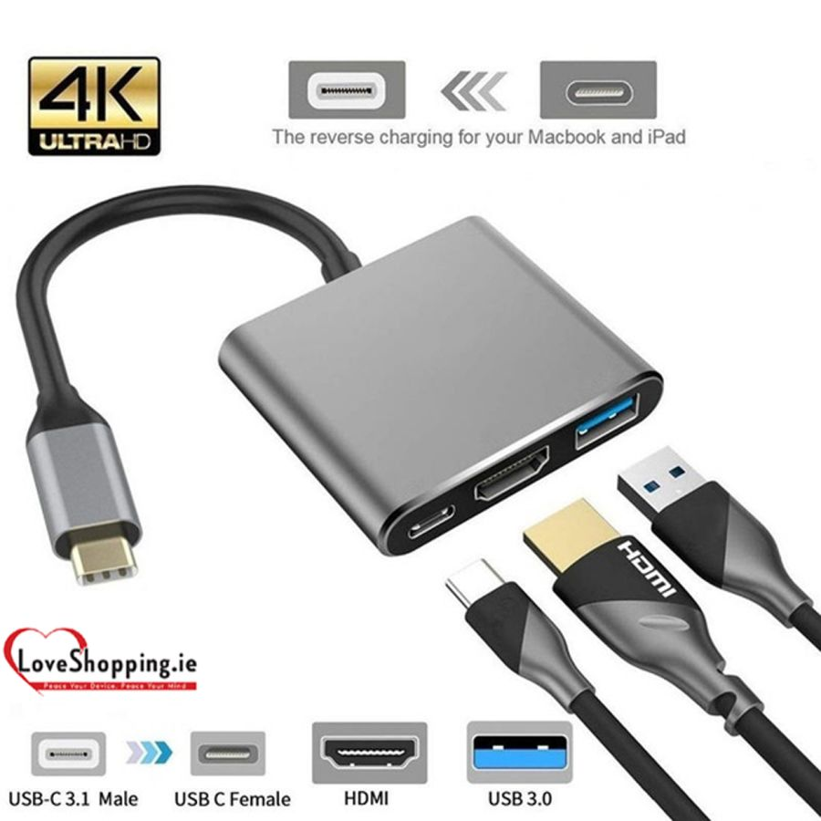 Hub Adapter For Macbook Power Laptops high quality usb to converter 3-in-1 digital adapter supports 4k usb c hdmi 3.0 hub