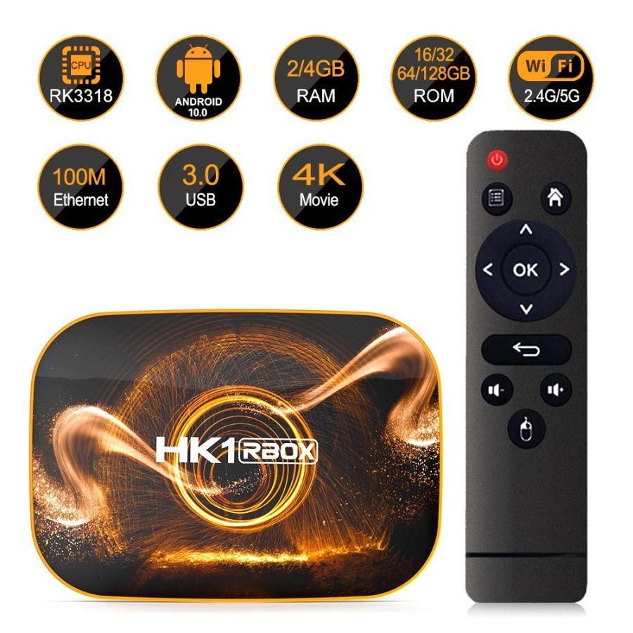 New hk1 Rbox Dual Wifi 4/32GB Android Smart Tv Box Android 10.0   Wireless 4K 1080P Media Player